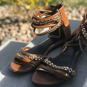 ShoeDazzle brown and gold sandals